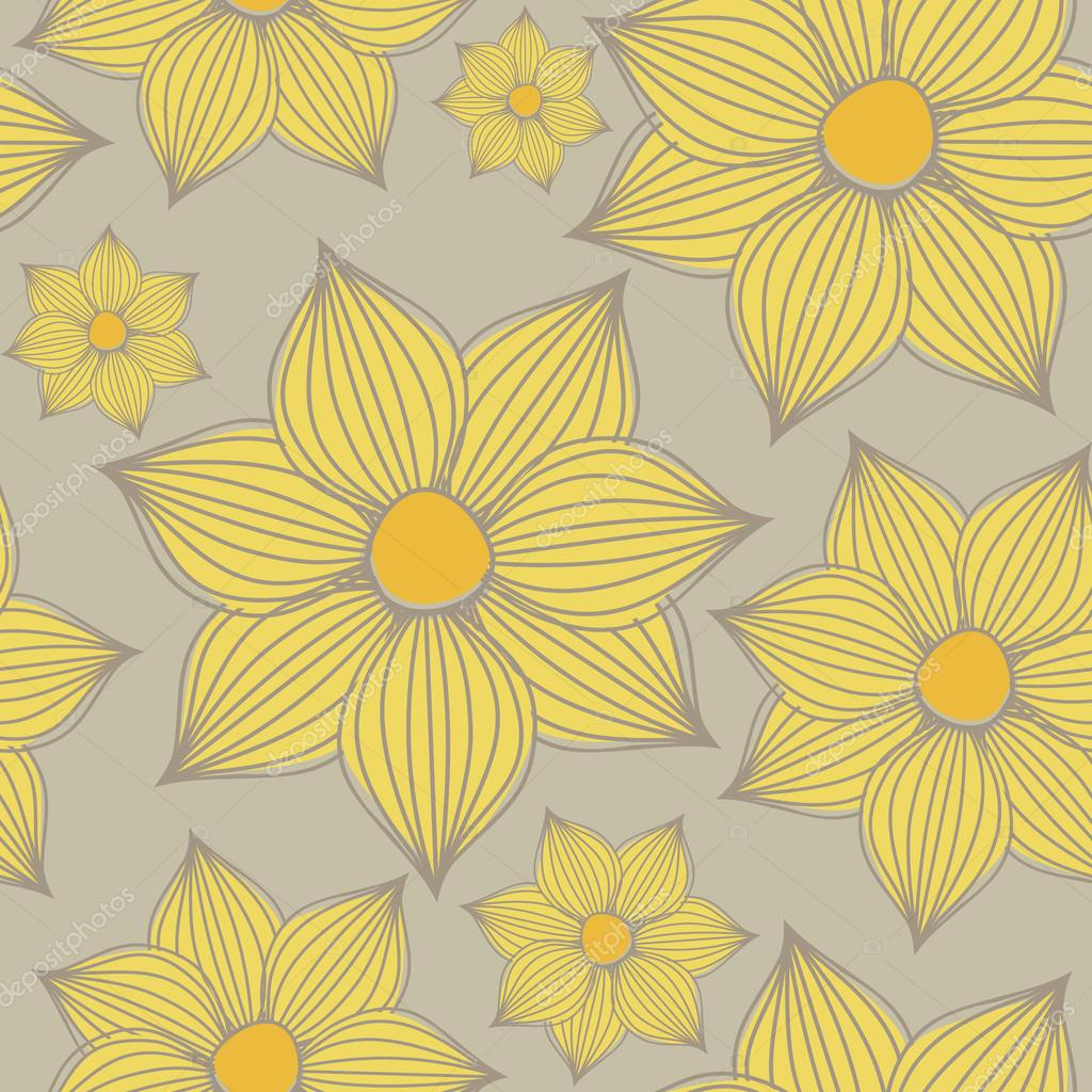 Seamless pattern with yellow flowers against grey background.  Stock Vector #12655499