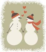 Bonhommes de neige amoureux — Vecteur