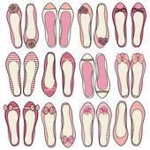 Baleríny boty kolekce — Stock vektor