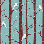 Winter Birch Forest — Stock Vector
