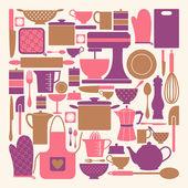 коллекция элементов кухни — Cтоковый вектор