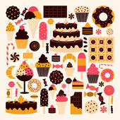 Dessert pictogrammen collectie — Stockvector