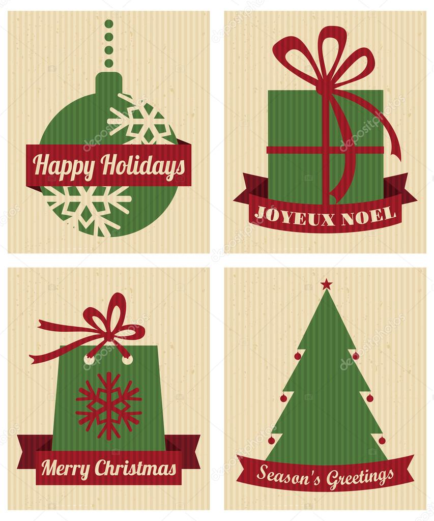 A set of four Christmas designs in traditional red and green against cardboard background.  Stock Photo #15374759