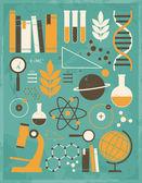 Insieme scienza ed educazione — Vettoriale Stock