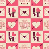 Vintage Valentine Seamless Pattern — Stock Vector