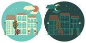 Vista della città giorno e notte — Vettoriale Stock