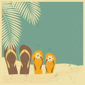Slippers op het strand — Stockvector