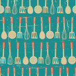 Retro Kitchen Pattern — Stock Vector