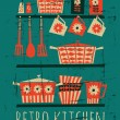 Retro Kitchen Poster — Vector de stock