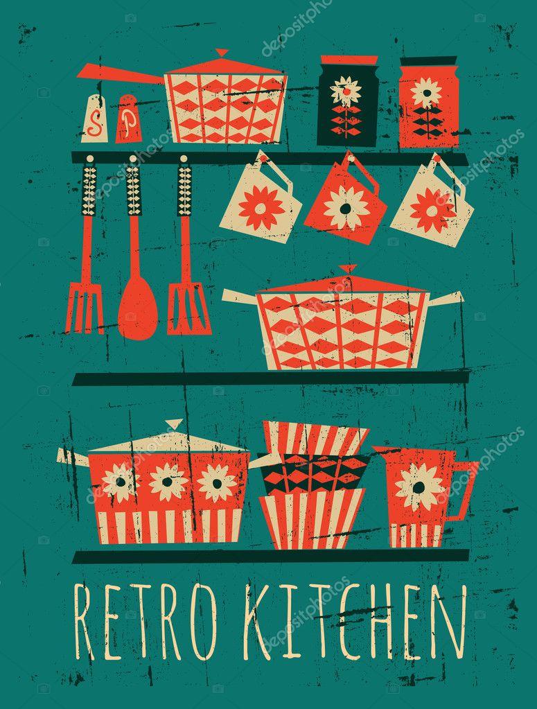 retro küche poster — stockvektor © ivaleks #23912461