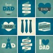 Father's Day Cards Collection - Stok Vektör