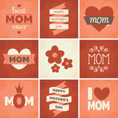 Mother's Day Cards Collection — Stok Vektör