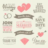 Düğün tasarım öğeleri — Stok Vektör