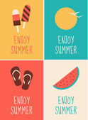 Summer Posters Collection — Stock Vector