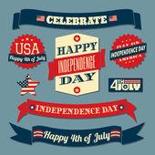Conjunto de elementos de diseño del día de la independencia — Vector de stock