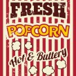 Retro Popcorn Poster — Stock Vector