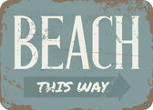 Vintage Beach Metal Sign — Stock Vector