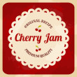 Retro Cherry Jam Label — Vettoriali Stock
