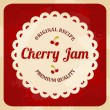 Retro Cherry Jam Label — Stock Vector