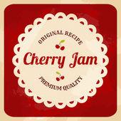 Retro Cherry Jam Label — Stock Vector