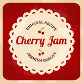 Retro cherry jam label — Stockvector
