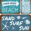 Cтоковый вектор: Beach Tin Signs Collection