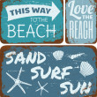 Stock Vector: Beach Tin Signs Collection