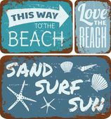 Beach Tin Signs Collection — Stok Vektör
