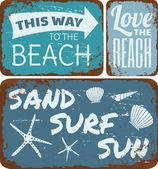 Kolekcja cyny znaki plaży — Wektor stockowy