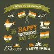 India Independence Day Collection — Imagens vectoriais em stock