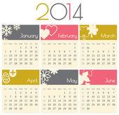 Calendario 2014 — Vettoriale Stock