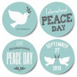Peace Day Stickers Collection — Stok Vektör