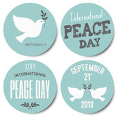 Peace Day Stickers Collection — Stock Vector