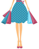 Girl with Shopping Bags — Vector de stock