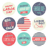 American Labor Day Sickers Collection — Stock Vector