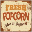 Stock Vector: Popcorn Metal Sign