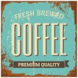 Stock Vector: Coffee Metal Sign