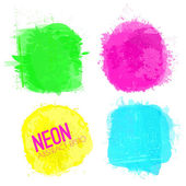 Neon Watercolor Squares Collection — Stock Vector