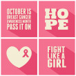 Breast Cancer Awareness Cards Collection — Imagen vectorial