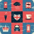 London Symbols Vintage Collage — Stock Vector