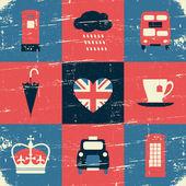 London Symbols Vintage Collage — Stock Vector