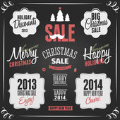 Chalkboard Christmas Design Elements — Stock Vector