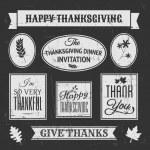 Chalkboard Thanksgiving Design Elements — Stock Vector