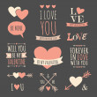 Valentine's Day Design Elements Collection — Vettoriale Stock