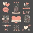 Valentine's Day Design Elements Collection — Stock Vector