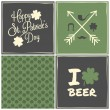 Stock Vector: St. Patrick's Day Cards Collection