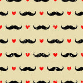 Mustache and Hearts Background — Stock Vector