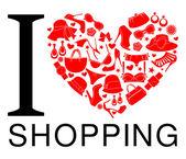 I Love Shopping — Stock Vector