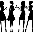 Cocktail Party Silhouettes — Stock Vector
