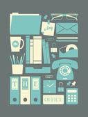 Retro Office Icons — Stock Vector